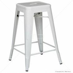 Tolix Bar Stool Replica - 65cm White - Buy White Bar Stools - MIlan Direct