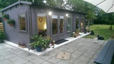Impressive Ideas to build your rustic log cabins in the woods or next to a river. A peaceful environment to take refuge from our crazy crazy life. Garden Log Cabins, Garden Lodge, Garden Huts, Garden Bar, Garden Ideas, Flat Roof Shed, Outdoor Garden Rooms, Summer House Garden, Summer Houses