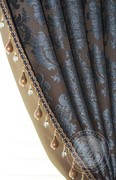 Beautiful beading I Custom Drapery Designs, LLC. I love the beading detail Home Curtains, Curtains With Blinds, Window Curtains, Valances, Drapery Designs, Drapery Ideas, Curtain Styles, Custom Window Treatments, Passementerie