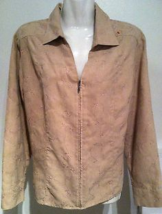 New CROFT & BARROW Embroidered Ultra Suede Shirt/Jacket  45 Bust SZ PXL