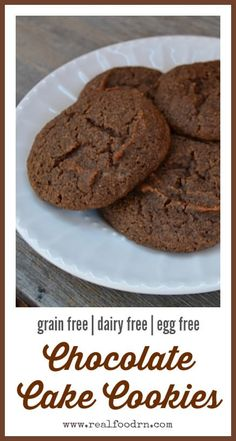Chocolate Cake Cookies. Grain free, dairy free and egg free! Anyone can eat these cookies! So delicious and healthy that you can eat them without any guilt. realfoodrn.com #grainfreecookies #chocolatecakecookies