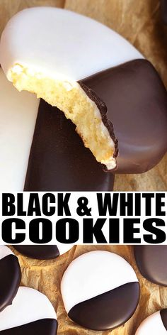 "BLACK AND WHITE COOKIES RECIPE- The best classic, easy NYC black and white cookies, homemade with simple ingredients. Soft, moist cake-like cookies frosted in vanilla and chocolate icing. Also known as ""half and half cookies"" or ""half moon cookies"" or ""Seinfeld black and white cookies."" From CakeWhiz.com #cookies #dessert #chocolate #vanilla"