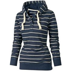 $15.73 Stylish Hooded Long Sleeve Drawstring Striped Women's Hoodie