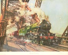 The Flying Scotsman by Terence Cuneo Railway Posters, Travel Posters, Trains, Uk Rail, Flying Scotsman, Rail Transport, Train Tickets, Water Tower, Art Moderne