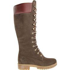 Timberland #3753R WOMS PREM 14IN Dunkelbraune Damen-Stiefel zum schnüren von Timberland. Das Obermaterial ist aus wasserabweisendem Nubukleder, mit Glattleder gefertigt, das Innenfutter ist mit Textil ausgekleidet. Die Decksohle besteht aus Textil und ist herausnehmbar. Eine Logoapplikation ziert den Schuh. Die Schafthöhe beträgt ca. 36cm, die Schaftweite liegt bei ca. 36cm. Die Sohle besteht aus Gummi