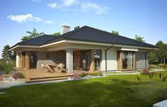 Projekt domu Fabia IX - koszt budowy - EXTRADOM -->> Go to link in description! Two Bedroom House Design, Modern Bungalow House Design, House Roof Design, Village House Design, Home Building Design, Facade House, Building A House, Farmhouse Design, Farmhouse Plans