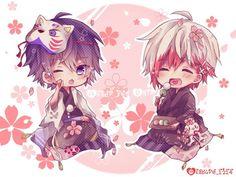Soraru and Mafumafu Kawaii Chibi, Cute Chibi, Kawaii Art, Kawaii Anime, Anime Eyes, Manga Anime, Anime Art, Cute Characters, Anime Characters