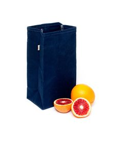 Lunch Bag in Navy Blue // Waxed Canvas Bag in Navy Blue // Lunch Bag // Reusable Bag