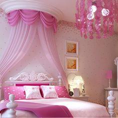 Non-woven wallpaper rustic child real girl wallpaper pink purple  kids bedroom wallpaper