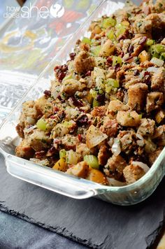 Food and Drink.  Amazing Cranberry Asian Pear Stuffing with Cranberry Citrus Sauce! Perfect for Thanksgiving! | How Does She...