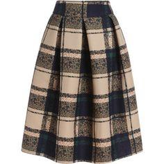 SheIn(sheinside) Khaki Vintage Plaid Midi Skirt