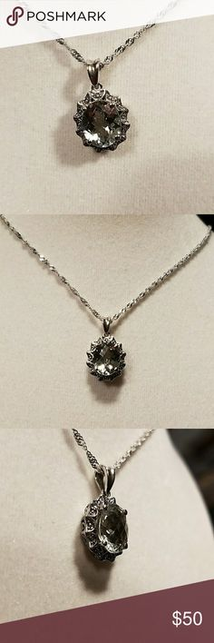 """Sterling Silver Cushion Cut Green Amethyst Pendant Pretty Cushion Cut Oval Green Amethyst in Sterling Silver with Sterling Silver 18"""" Chain  Pendant bail marked 925 chain spacer marked 925 Italy New no tags unknown carat weight stone 5/8"""" x 3/8"""" unbranded  Jewelry Necklaces"""