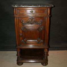 French Walnut Side Cabinet-19th C French walnut side cabinet with a marble top. 1850.