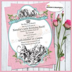 MB Design and graphics: Alice in wonderland themed Invitation