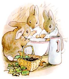 'Flopsy,Mopsy,& Cotton-Tail,had Milk,& Bread,& Blackberries for Supper'! From-The Tale Of Peter Rabbit,by  Beatrix Potter,Courtesy of 'Tonights Bedtime Story'.com