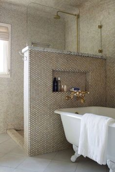 shower with no door---like this idea