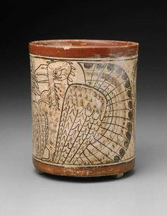 Mayan, Codex-style cylinder vase with turkey, 680-750
