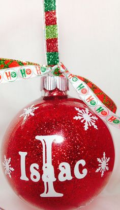Custom Christmas Ornaments Monogram Initial by BoutiqueOnTheBlvd