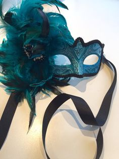 Feather mask NYC -Turquoise mask-Mardi Gras- Carnival mask-feather mask-Feather headpiece- coque feathers- New years mask-venetian mask Feather Mask, Feather Headpiece, Mardi Gras Carnival, Carnival Masks, Carnival Ideas, Masquerade Party, Masquerade Masks, Mascarade Mask, Masquerade Outfit