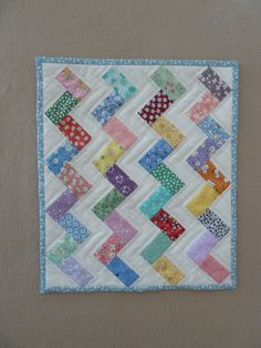 Zig Zag Mini quilt in feedsack fabrics. Totally charming.