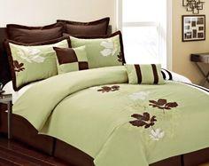 Sally Textiles Aruba Comforter Set, King, Sage