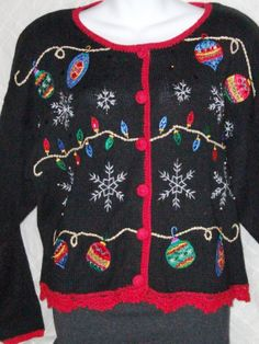 Ugly Christmas Sweater - Black with red trim   crocheted buttons. Size L  for Men or Women 874a0b986