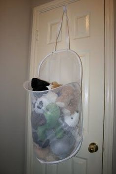 Wreath Hanger+Door+Mesh Laundry Hamper = Stuffed animal storage @Rachel Anderson