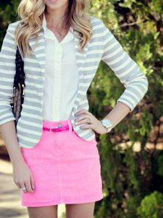 hot pink denim skirt.