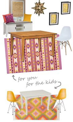 Boho Modern Dining Room for parents and kids via @themomedit