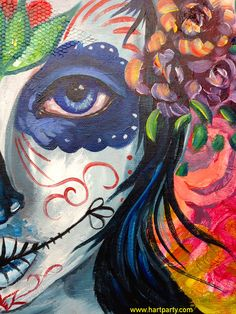 Sugar Skull painting By Cinnamon Cooney The Art Sherpa as a Fully guided art… Sugar Skull Painting, Sugar Skull Art, The Art Sherpa, Diy Canvas Art, Canvas Ideas, Learn To Paint, Halloween Art, Acrylic Art, Art Tutorials