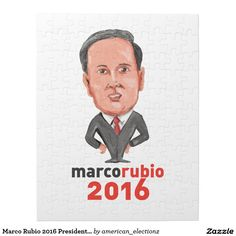Marco Rubio 2016 President Caricature Jigsaw Puzzle. Marco Rubio 2016 president caricature jigsaw puzzle with a caricature illustration showing Marco Rubio, an American senator, politician and Republican 2016 presidential candidate standing with words Marco Rubio 2016 done in cartoon style. #Rubio2016 #republican #americanelections #elections #vote2016 #election2016