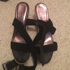 Mossimo size 9 black buckled wedges. Great wedges - rarely worn. Mossimo Supply Co Shoes