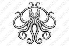 Octopus or Squid Illustration Graphics An original octopus or squid tattoo illustration concept design in a vintage woodblock style by Christos Georghiou Octopus Illustration, Tattoo Illustration, Pencil Illustration, Octopus Tattoo Design, Octopus Tattoos, Tattoo Designs, Squid Drawing, Squid Tattoo, Tattoo Blog