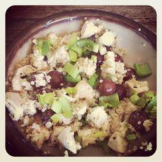 Quinoa chicken salad with grapes Greek yogurt, celery, lemon and pepper #toneitup