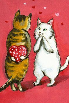 """Bogart and Lulu aka """"Girl"""" Valentine Cats"""