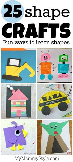 Shape Crafts 25 shape crafts to make learning shapes fun. Adorable preschool art projects using different shape crafts to make learning shapes fun. Adorable preschool art projects using different shapes. Preschool Learning, Preschool Activities, Preschool Shape Crafts, Science Crafts, Teaching Art, Teaching English, Kindergarten Art Projects, Learning Shapes, Learning Skills
