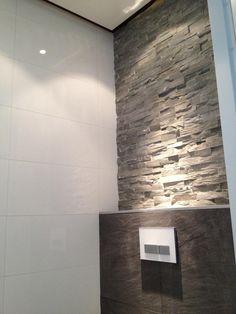 Brick slips above the toilet. Toilet Room, New Toilet, Bathroom Design Luxury, Bath Design, Happy New Home, Modern Toilet, Stone Panels, Downstairs Toilet, Toilet Design