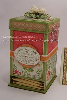 """Tutorial to make tea box    Starting with 6 x 12"""" Lucky Limeade cardstock, score at 1"""" parallel to the long edge, score at 3-1/16, 5-3/4, 8-13/16, 11-1/2"""" parallel to the short edge."""