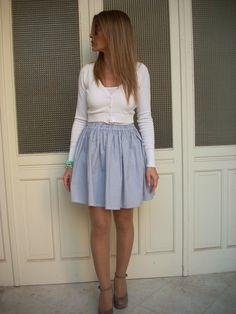 Gonna+cotone+righine+blu+con+arricciatura+di+MelinaECris+su+DaWanda.com Skater Skirt, Skirts, Etsy, Fashion, Moda, La Mode, Skater Skirts, Skirt