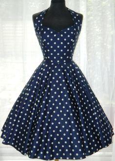 ON SALE: Vintage/50s/Rockabilly Halter Style Polka Dot Dress UK Size 12. £60.00, via Etsy.