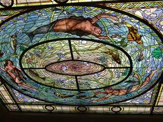 Stained glass in historic bathhouse in Hot Springs, Arkansas. The bathhouse is now the National Park Visitors Center. Stained Glass Art, Stained Glass Windows, Hot Springs Arkansas, Glass Ceiling, Through The Looking Glass, Winter Fun, National Parks, Arkansas Mountains, Places