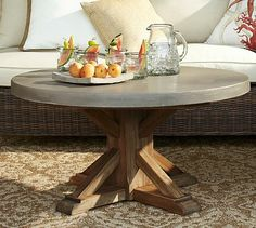 Pottery Barn :: Abbott Concrete Top Round Coffee Table #potterybarn     * perfect!! and can go anywhere else, but a definite for the sunroom *
