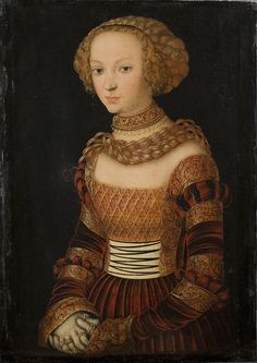 """Lucas Cranach The Elder (Ca. 1472 - 1553), """"Portrait of a Young Woman. Princess Emily of Saxony?"""". After 1492"""