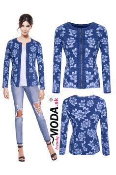 Štýlový dámsky riflový bluzón s módnou potlačou kvetov a zapínaním na zips, vo veľkostiach i pre moletky. Modeling, Modeling Photography, Models