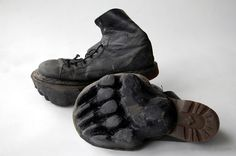 animal footprint shoes.. when you don't want to be followed. OMG I love this idea--though any tracker would quickly realize he was tracking a two-footed bear.
