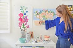 Sleeping until 9am, painting beautiful flowers from a sun-filled, cheery home studio, and walking into an Anthropologie store to see your own designs on beautiful products...California-based artist Bridgette Thornton is living a dream creative life. Tour the photos of her home and studio for some workspace inspiration (or motivation to kick start your own work from home life).