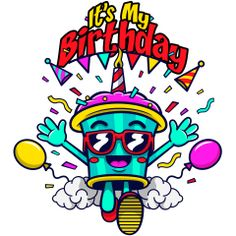 It's my birthday! A cool cupcake wearing sunglasses is throwing a big birthday party just for you. Balloons, party hats, confetti, and cupcakes! Fun Cupcakes, Birthday Cupcakes, Sweet November, Party Hats, Balloons, Cool Cupcakes, Anniversary Cupcakes, Globes, Funny Cupcakes