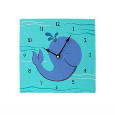 Children's Clock - Custom Hand Painted Kids Wall Clock - Ocean Whale or Any Room Decor Theme (35.00 USD) by Coolisart