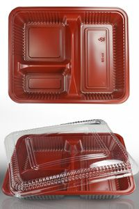 Maroon and Clear 3 Compartment Sushi /Food Tray - HA-01