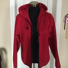 Red Hoodie Jacket-Size M 100% polyester. Zipper front. Like new! Dress Barn Jackets & Coats Utility Jackets